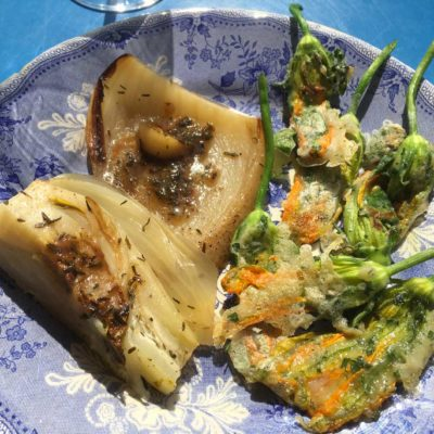 fenouils braisés citron thym Tempura de fleurs de courgettes