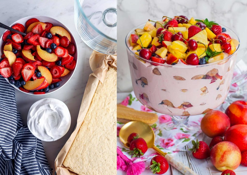 trifle aux nectarines et fruits rouge du potager de coudoux