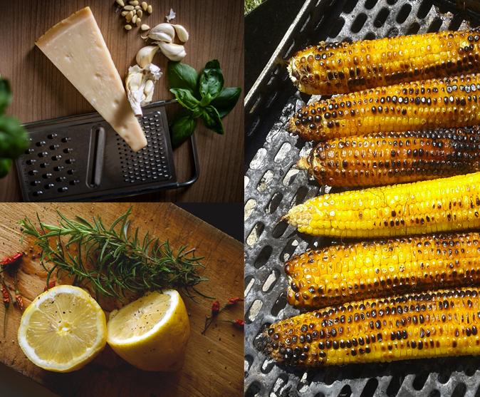 épis de maïs grillés au thym, parmesan et citron vert