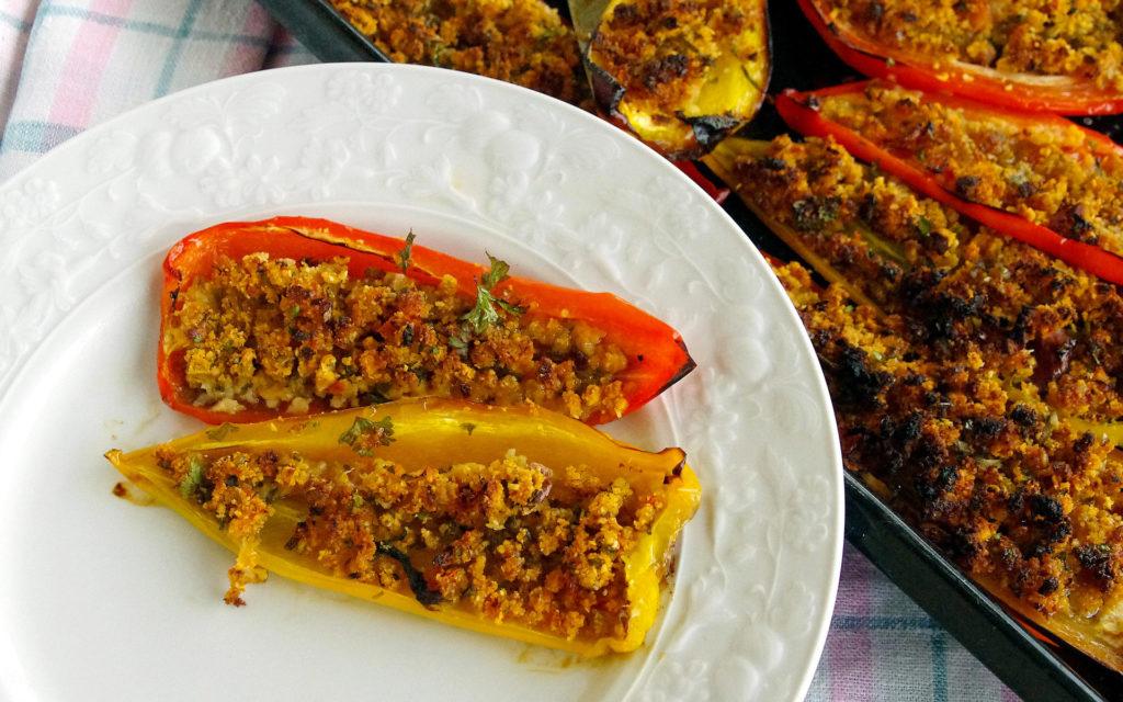 poivron jaune farci aux légumes et céréales